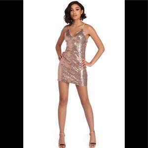 B. Smart Rose Gold Strap Dress